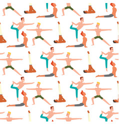 yoga positions man characters class vector image