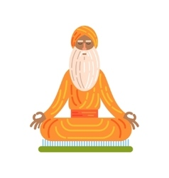 Yogi Sitting On Board With Nails In Lotus Pose vector image