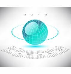 a bluegreen globe 2018 calendar vector image vector image