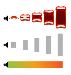 Adjust volume shout level stage scream open mouth vector