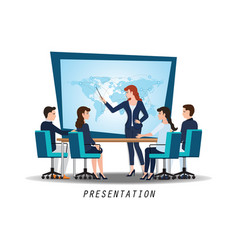 business woman presenting world business on vector image