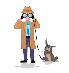 detective with binocular and dog on white vector image vector image