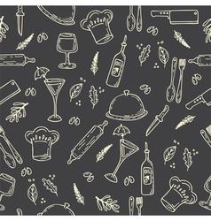 Hand drawn food seamless pattern Sketch kitchen vector image