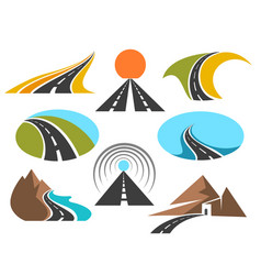 road colored emblems isolated on white vector image vector image