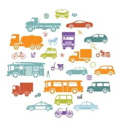 Round card with retro flat cars and vehicles vector