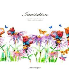 cute floral border watercolor vector image
