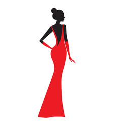 fashion model silhouette of beautiful woman in vector image vector image