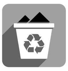 Full Recycle Bin Flat Square Icon with Long Shadow vector image vector image