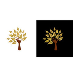 gold glitter hand tree symbol for nature help vector image