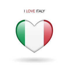 love italy symbol flag heart glossy icon on a vector image vector image