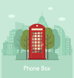red phone box in modern city vector image vector image