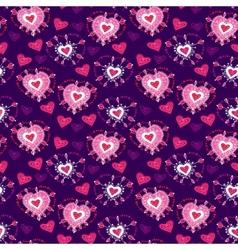 Seamless Violet cartoon pattern with cartoon heart vector image