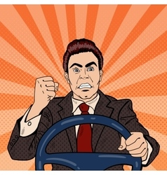 Angry Driver Man Showing his Fist Road Rage vector image