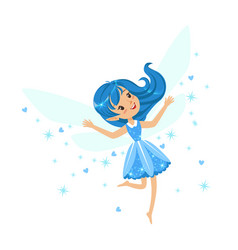 beautiful smiling blue fairy girl flying colorful vector image
