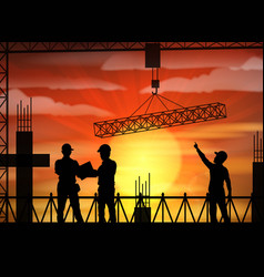 construction worker silhouette at sunset vector image