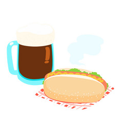 hot dog and root beer vector image vector image