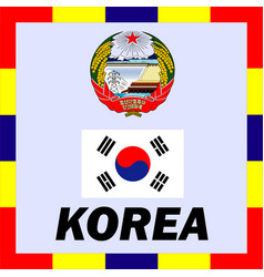 official ensigns flag and coat of arm of korea vector image