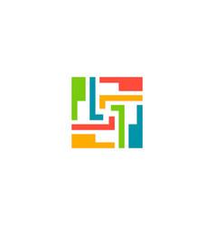 puzzle circle shape geometry logo vector image
