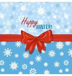 winter card template with red bow vector image vector image