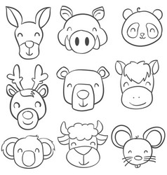 collection stock of animal doodle style vector image