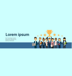 group of successful business people winners over vector image