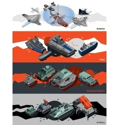 Military Equipment Banners Isometric vector image
