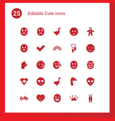 25 cute icons vector