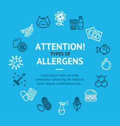 Allergens types infographics banner card vector