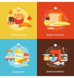 Bakery flat icons set vector image
