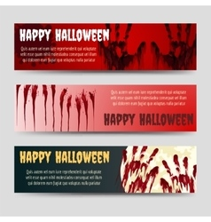 Bloody handprints halloween horizontal banners set vector image