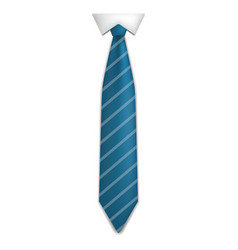 blue striped tie icon realistic style vector image