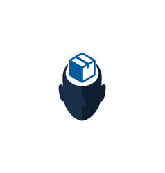 box human head logo icon design vector image