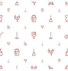 Brush icons pattern seamless white background vector