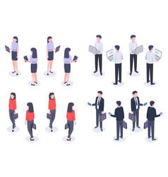 business people isometric set man and woman vector image