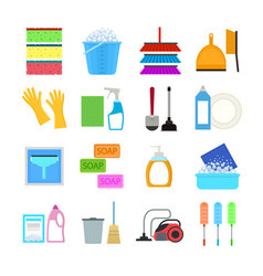 Cartoon household cleaning signs icons set vector