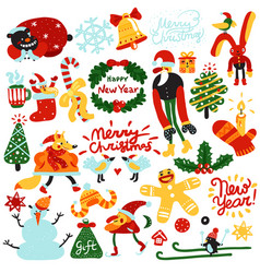 Christmas and new year elements vector