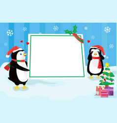 christmas penguin design background vector image