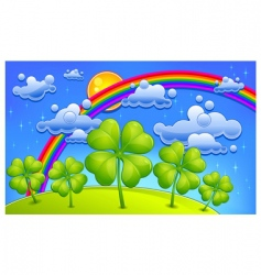 clovers under rainbow vector image