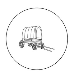 cowboy wagon icon outline singe western icon from vector image