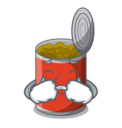 Crying canned food on the table cartoon vector