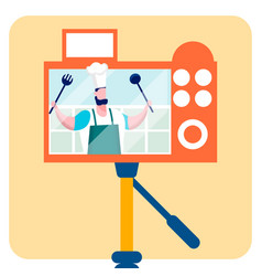 Culinary blog video recording flat vector
