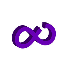 Cut infinity symbol flat isometric icon or logo vector