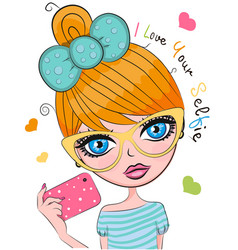 Cute cartoon girl vector