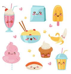 cute kawaii food cartoon characters set desserts vector image
