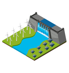 Dam with watergate and wind turbines vector