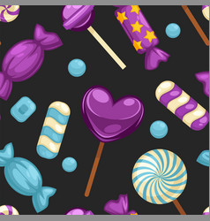Delicious sweet candies in bright covers and vector