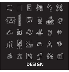 design editable line icons set on black vector image