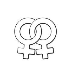 Doodle female homosexual venus symbol vector