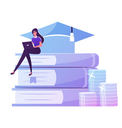 Educational loan concept tiny female student vector