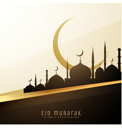 Eid wishes background with mosque and moon vector